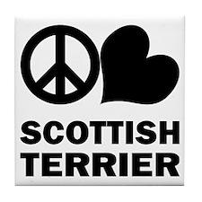 Peace Love Scottish Terrier Tile Coaster