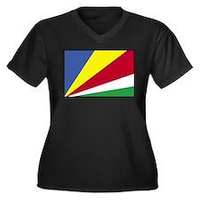 Flag of Seychelles 4 Women's Plus Size V-Neck Dark