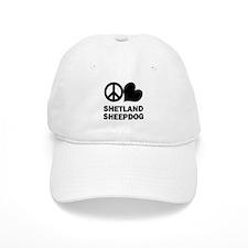 Peace Love Shetland Sheepdog Baseball Cap