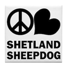 Peace Love Shetland Sheepdog Tile Coaster