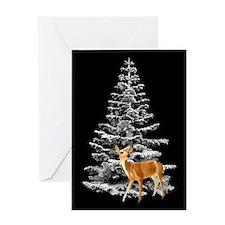 Deer by Snowy Tree Greeting Card
