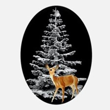 Deer by Snowy Tree Ornament (Oval)