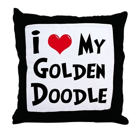 When Should I Throw Away My Pillow : I Love My Golden Doodle Throw Pillow by mydogrulez