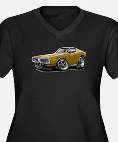 1973-74 Charger Gold Car Women's Plus Size V-Neck