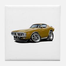 1973-74 Charger Gold Car Tile Coaster