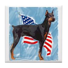 Doberman with flag Tile Coaster