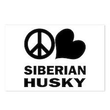 Peace Love Siberian Husky Postcards (Package of 8)