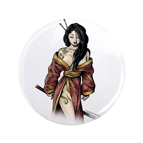 "Lady Samurai 3.5"" Button"
