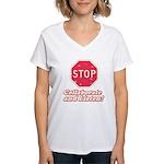 STOP! Women's V-Neck T-Shirt