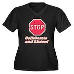STOP! Women's Plus Size V-Neck Dark T-Shirt