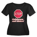 STOP! Women's Plus Size Scoop Neck Dark T-Shirt