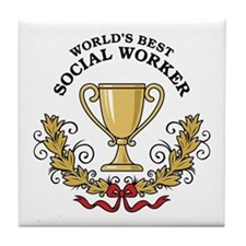 World's Best Social Worker Tile Coaster