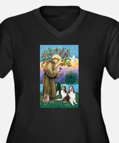 St. Francis (V-W)-Two Shelties Women's Plus Size V