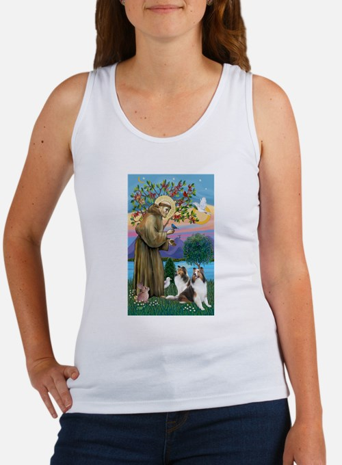 St. Francis (V-W)-Two Shelties Women's Tank Top
