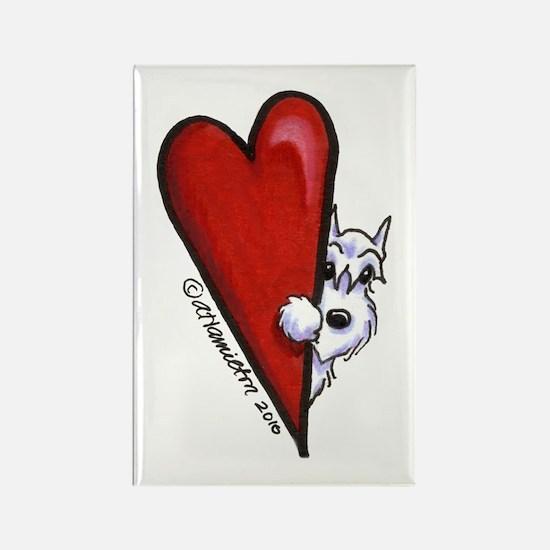 White Schnauzer Lover Rectangle Magnet