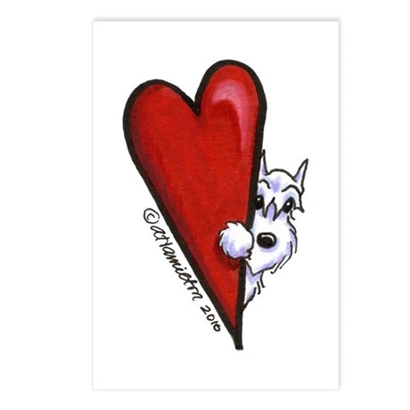 White Schnauzer Lover Postcards (Package of 8)