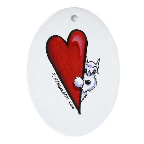 White Schnauzer Lover Ornament (Oval)