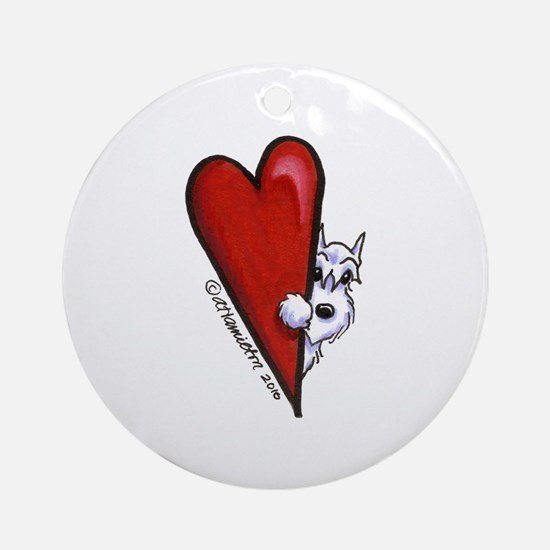 White Schnauzer Lover Ornament (Round)