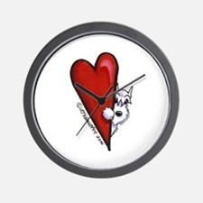 White Schnauzer Lover Wall Clock