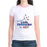 Little Firecracker in July. Jr. Ringer T-Shirt