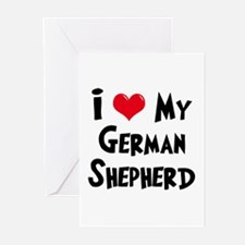I Love My German Shepherd Greeting Cards (Pk of 10