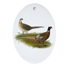 Ringneck Pheasant Pair Ornament (Oval)