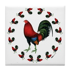 Rooster Circle Tile Coaster