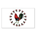 Rooster Circle Sticker (Rectangle 10 pk)