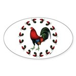 Rooster Circle Sticker (Oval 50 pk)