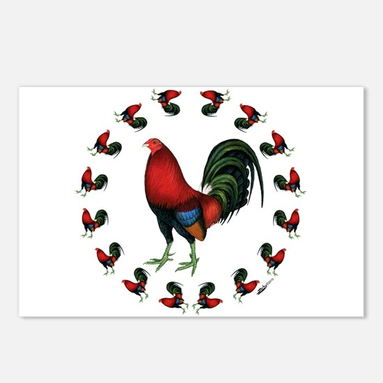 Rooster Circle Postcards (Package of 8)