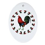 Rooster Circle Ornament (Oval)
