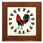 Rooster Circle Framed Tile