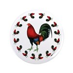 "Rooster Circle 3.5"" Button"
