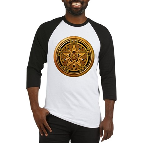 Gold Pagan Pentacle Baseball Jersey