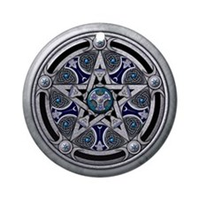 Silver Pagan Pentacle Ornament (Round)