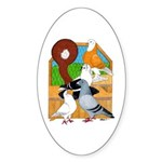 Five Pigeons Oval Sticker
