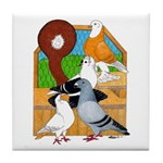Five Pigeons Tile Coaster