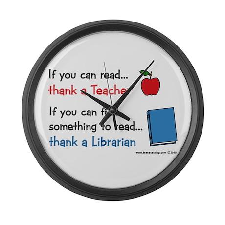 Teacher...Librarian Large Wall Clock