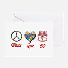 2-peace love 60 copy Greeting Cards