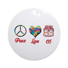 Cute Happy sixty fifth birthday Ornament (Round)