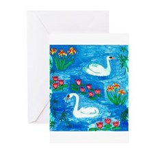 Sushila Burgess Swans Greeting Cards (Pk of 20)