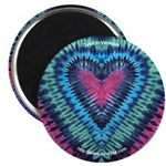 Raspberry Heart Tie-dye Art Magnet