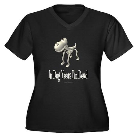 In Dog Years Women's Plus Size V-Neck Dark T-Shirt