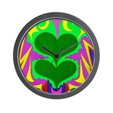 Angel Hearts Dark Green & Lig Wall Clock