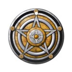 Silver Pentacle w/gold Ornament (Round)