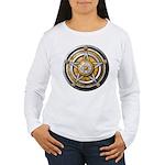 Silver Pentacle w/gold Women's Long Sleeve T-Shirt
