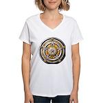 Silver Pentacle w/gold Women's V-Neck T-Shirt