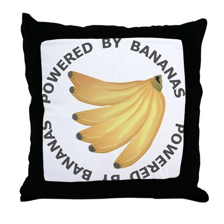 Powered By Banana Throw Pillow