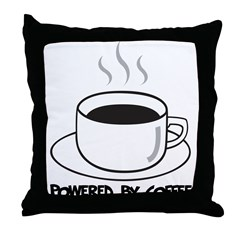 Powered By Coffee Throw Pillow