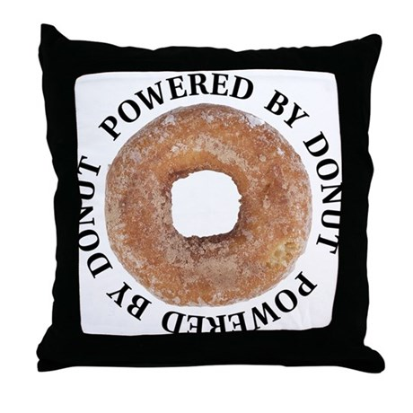Powered By Donut Throw Pillow